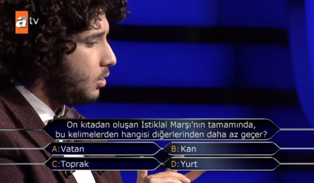 """On kıtadan oluşan İstiklal Marşı'nın tamamında bu kelimelerden hangisi daha az geçer?"""" sorusuna verdiği 'Toprak' yanıtıyla 1 milyon TL'nin sahibi olan Arda Ayten, yarışmanın ardından sosyal medya hesabından bir paylaşımda bulundu."""