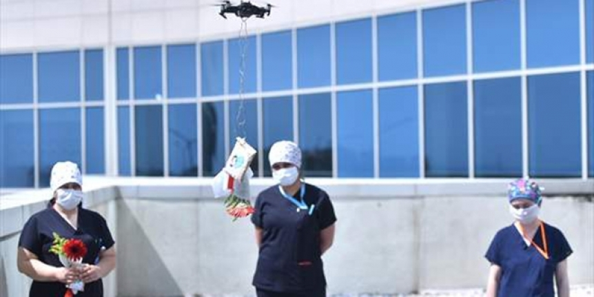 Sağlık Çalışanlarına Drone ile Anneler Günü Sürprizi