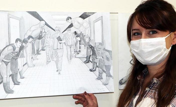 Coronayı yenen hemşire meslektaşları için çizdi