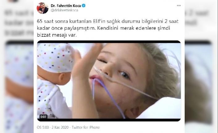 Bakan Koca, 'Elif'in hastanedeki görüntüsünü paylaştı