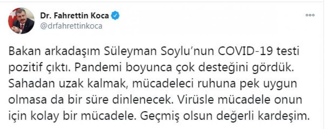 Bakan Koca, İçişleri Bakanı Soylu'nun son durumunu açıkladı