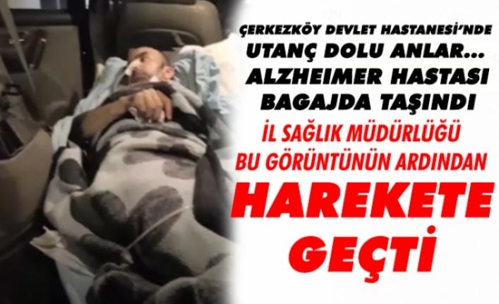 Yatalak hasta araba bagajında hastaneye taşındı