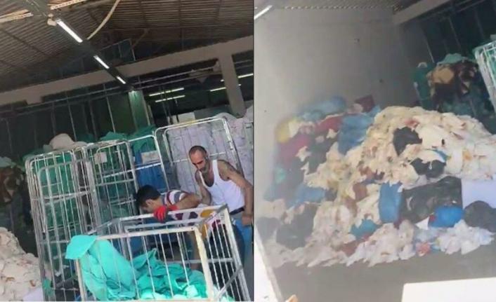 Hastane Çamaşırhanesinde skandal görüntüler iddiası!
