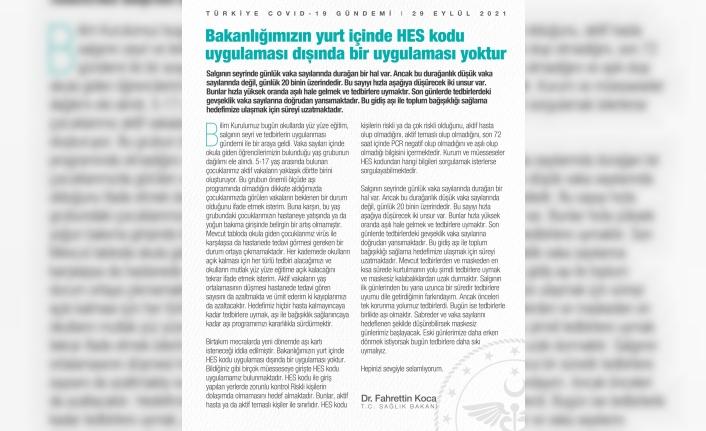 Bakan Koca'dan aşı kartı açıklaması
