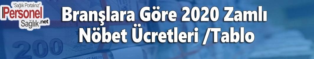Branşlara Göre 2020 Zamlı Nöbet Ücretleri /Tablo