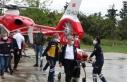 Kazada yaralanan sağlıkçı, ambulans helikopterle...