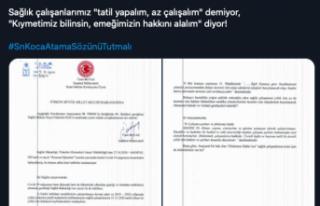 Miletvekili Beyaz Bakan Koca'ya Sağlık Çalışanlarının...