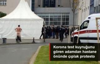 Korona test kuyruğunu protesto eden adam soyundu
