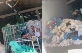 Hastane Çamaşırhanesinde skandal görüntüler...