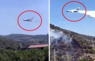 Yangın Söndürme Uçağı Suyu Alevlerin Olmadığı...