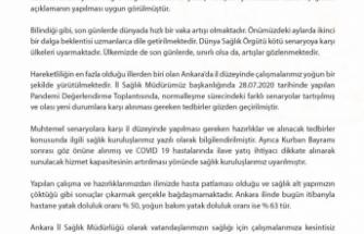 Ankara İl Sağlık Müdürlüğü Basın Açıklaması