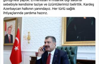 Bakan Koca, Azerbaycan Sağlık Bakanı ile görüştü! Yardıma hazırız..
