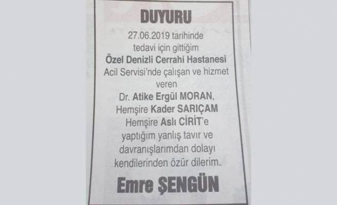 Sağlık çalışanlarına hakaret eden şahıstan özür ilanı