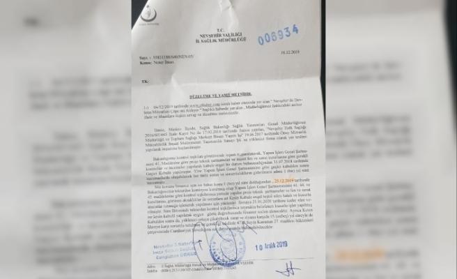 Nevşehir İl Sağlık Müdürlüğünün Resmi Yazısında Şok Detay