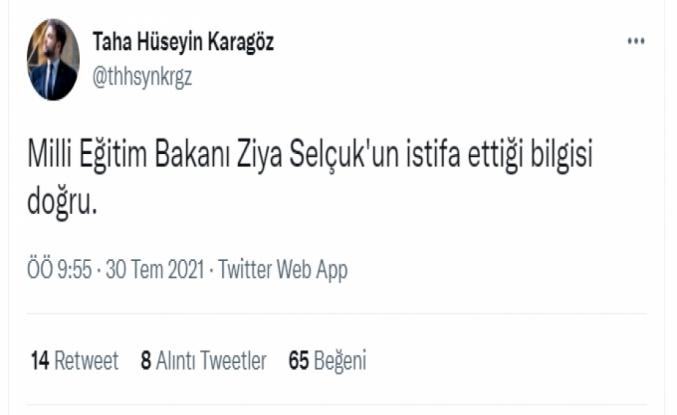 Yeni Şafak muhabiri: Ziya Selçuk'un istifa ettiği bilgisi doğru!