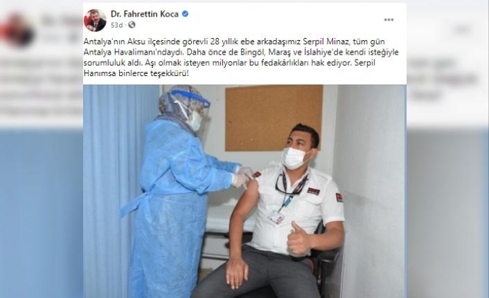 Bakan Koca, 28 yıllık ebe Serpil Minaz'a teşekkür etti